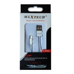 Maxtech F-IP002 Cavo Lightning per iPhone 5/5C/5S/6/6+/7/7+/8/8+/X