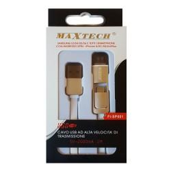 Maxtech FI-SP001 Cavo USB Lightning/MicroUSB White