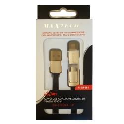 Maxtech FI-SP001 Cavo USB Lightning/MicroUSB Black