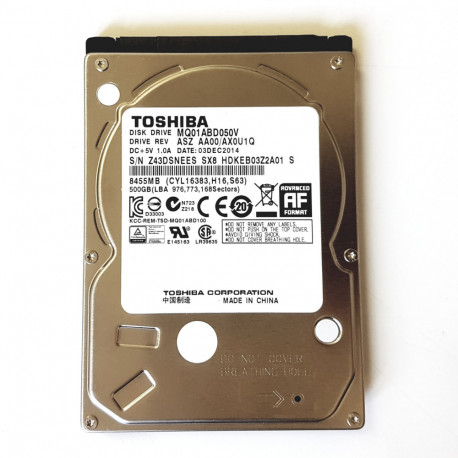 "Toshiba MQ01ABD050V Hard Disk 500GB SATA/300 5400RPM 8MB 2.5"""