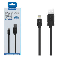 Newtop cavo USB/Lightning compatibile per iPhone 5/6/7/8/X (NT-23877) Black