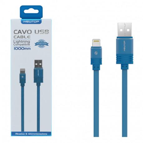 Newtop cavo USB/Lightning compatibile per iPhone 5/6/7/8/X (NT-23877) Blu
