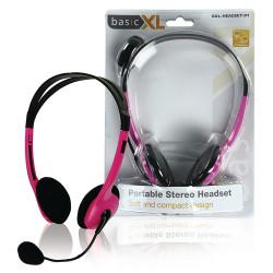 BasicXL BXL-HEADSET1PI Cuffia Stereo con Microfono Archetto Pink