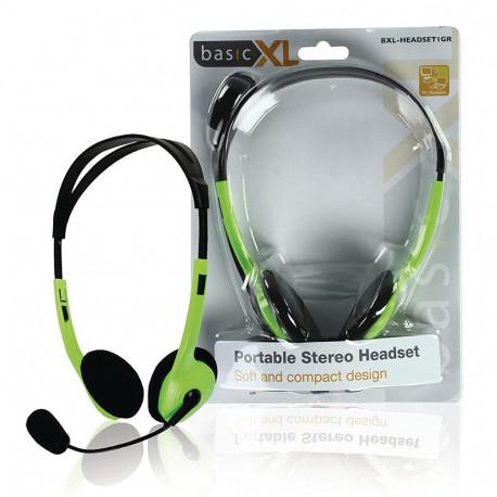 BasicXL BXL-HEADSET1GR Cuffia Stereo con Microfono Archetto Green