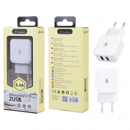OnePlus A3021 Caricabatteria Rapido 2xUSB 2.4A, White