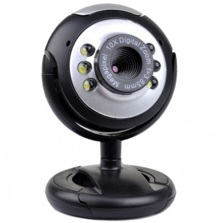 Blupont 1100 Webcam con Mic., 2MP, 6 Led, Black/Silver